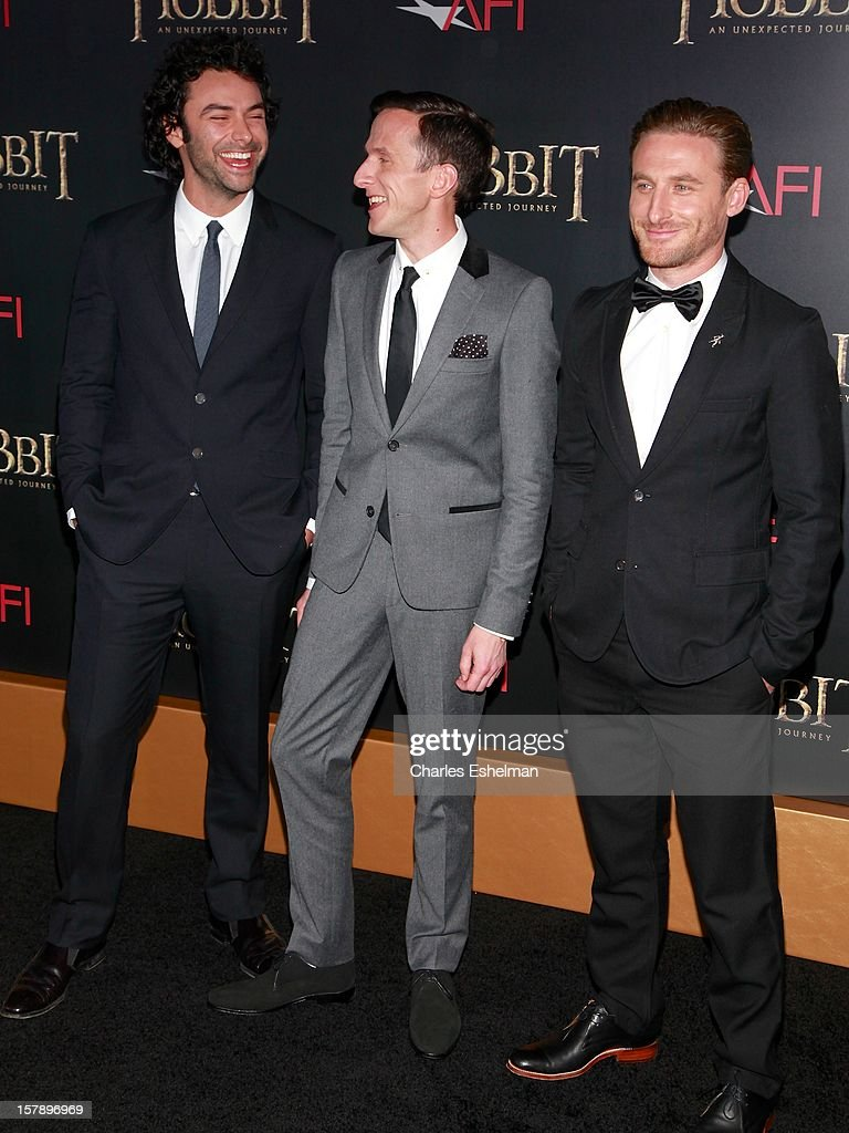 Actors Dean O'Gorman, Adam Brown and Aidan Turner attend 'The Hobbit: An Unexpected Journey' premiere at the Ziegfeld Theater on December 6, 2012 in New York City.