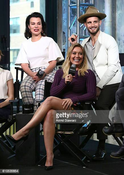 Actors Debi Mazar Hilary Duff and Nico Tortorella attend The Build Series Presents The Cast Of 'Younger' at AOL HQ on September 26 2016 in New York...