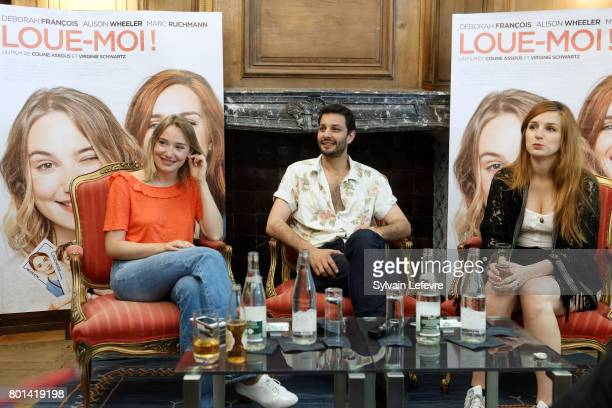 Actors Deborah Francois Marc Ruchmann and Alisson Weehler attend press conference for 'Louemoi' premiere on June 26 2017 in Lille France