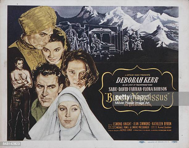 Actors Deborah Kerr Kathleen Byron Sabu Jean Simmons and David Farrar appear on a poster for the film 'Black Narcissus' directed by Michael Powell...
