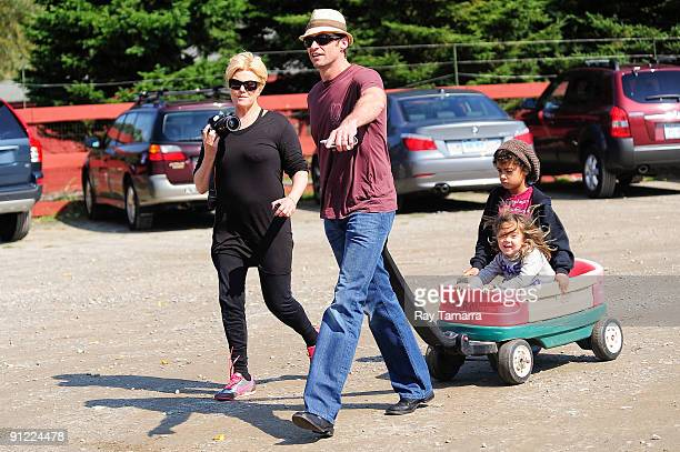 Actors DeborraLee Furness Hugh Jackman and their children Ava Jackman and Oscar Jackman visit the Silverman Farm on September 28 2009 in Easton...