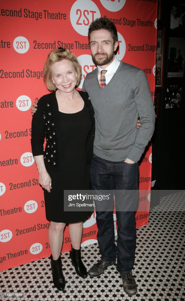 Actors <a gi-track='captionPersonalityLinkClicked' href=/galleries/search?phrase=Debra+Jo+Rupp&family=editorial&specificpeople=647661 ng-click='$event.stopPropagation()'>Debra Jo Rupp</a> and <a gi-track='captionPersonalityLinkClicked' href=/galleries/search?phrase=Topher+Grace&family=editorial&specificpeople=203130 ng-click='$event.stopPropagation()'>Topher Grace</a> attend the 'Lonely, I'm Not' Off-Broadway opening night after party at the HB Burger on May 7, 2012 in New York City.