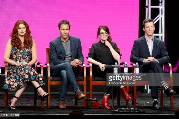 Actors Debra Messing Eric McCormack Megan Mullally and Sean Hayes of 'Will Grace' speak onstage during the NBCUniversal portion of the 2017 Summer...