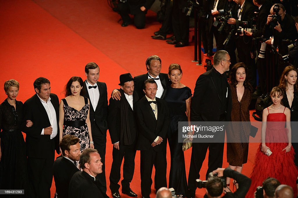 Actors Delphine Chuillot, Sergi Lopez, Amira Casar, David Kross, Denis Lavant, Mads Mikkelsen and wife Hanne Jacobsen, director Arnaud des Pallieres, guest, Melusine Mayance and Roxane Duran attend the 'Michael Kohlhaas' premiere during The 66th Annual Cannes Film Festival at the Palais des Festival on May 24, 2013 in Cannes, France.