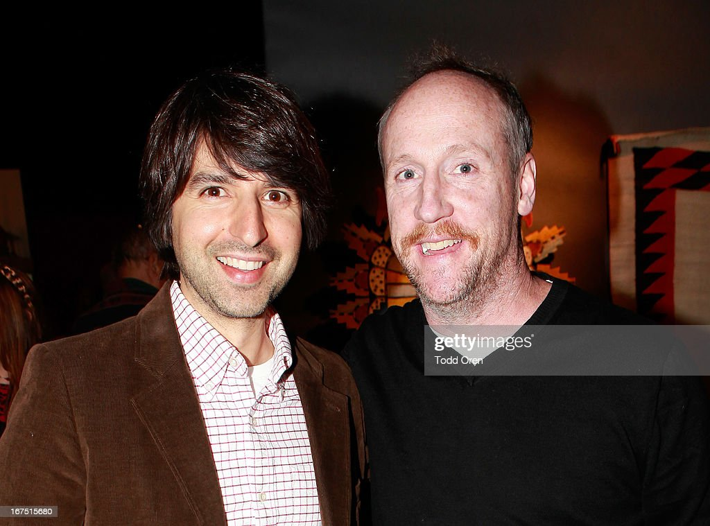 Actors <a gi-track='captionPersonalityLinkClicked' href=/galleries/search?phrase=Demetri+Martin&family=editorial&specificpeople=3106299 ng-click='$event.stopPropagation()'>Demetri Martin</a> (L) and <a gi-track='captionPersonalityLinkClicked' href=/galleries/search?phrase=Matt+Walsh+-+Actor&family=editorial&specificpeople=13491249 ng-click='$event.stopPropagation()'>Matt Walsh</a> attend P.S. ARTS Presents: LA Modernism Show Opening Night at The Barker Hanger on April 25, 2013 in Santa Monica, California.