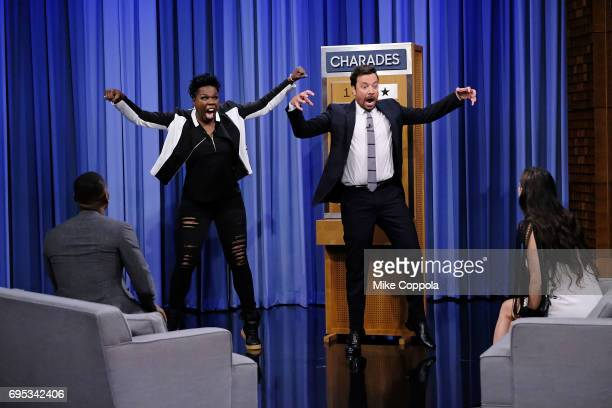 Actors Demetrius Shipp Jr Leslie Jones Jimmy Fallon and Demi Moore play a game during their visit to the 'The Tonight Show Starring Jimmy Fallon' at...
