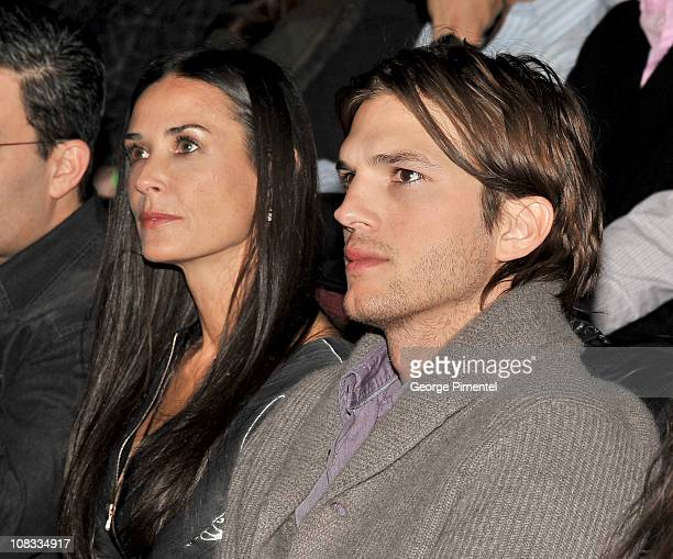 Actors Demi Moore and Ashton Kutcher attend 'Margin Call' Premiere at the Eccles Center Theatre during the 2011 Sundance Film Festival on January 25...