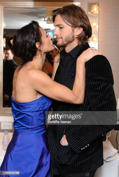 Actors Demi Moore and Ashton Kutcher pose at the 13th Annual Costume Designers Guild Awards with presenting sponsor Lacoste held at The Beverly...