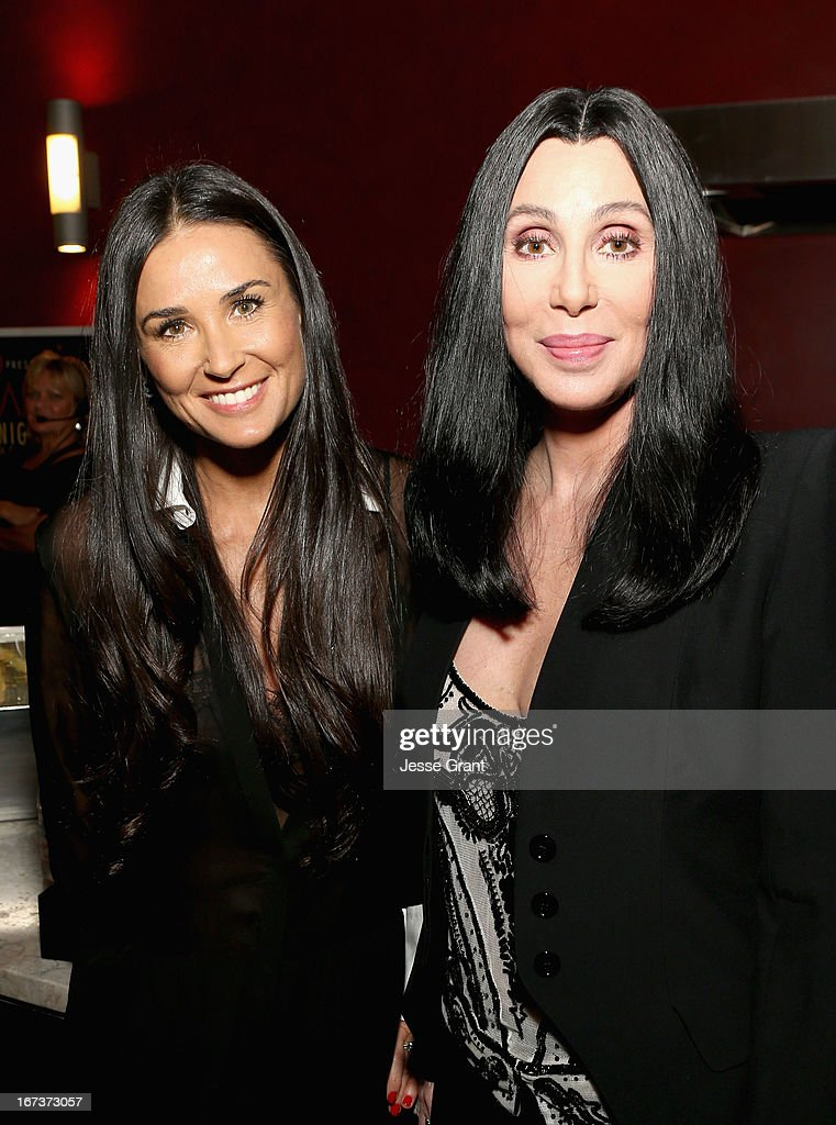 Actors <a gi-track='captionPersonalityLinkClicked' href=/galleries/search?phrase=Demi+Moore&family=editorial&specificpeople=202121 ng-click='$event.stopPropagation()'>Demi Moore</a> and Cher attend Target Presents AFI's Night at the Movies at ArcLight Cinemas on April 24, 2013 in Hollywood, California.