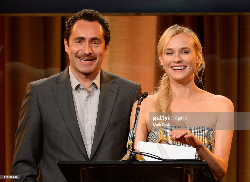 Actors <a gi-track='captionPersonalityLinkClicked' href=/galleries/search?phrase=Demian+Bichir&family=editorial&specificpeople=604427 ng-click='$event.stopPropagation()'>Demian Bichir</a> and <a gi-track='captionPersonalityLinkClicked' href=/galleries/search?phrase=Diane+Kruger&family=editorial&specificpeople=202640 ng-click='$event.stopPropagation()'>Diane Kruger</a> speak onstage at the Hollywood Foreign Press Association's 2013 Installation Luncheon at The Beverly Hilton Hotel on August 13, 2013 in Beverly Hills, California.