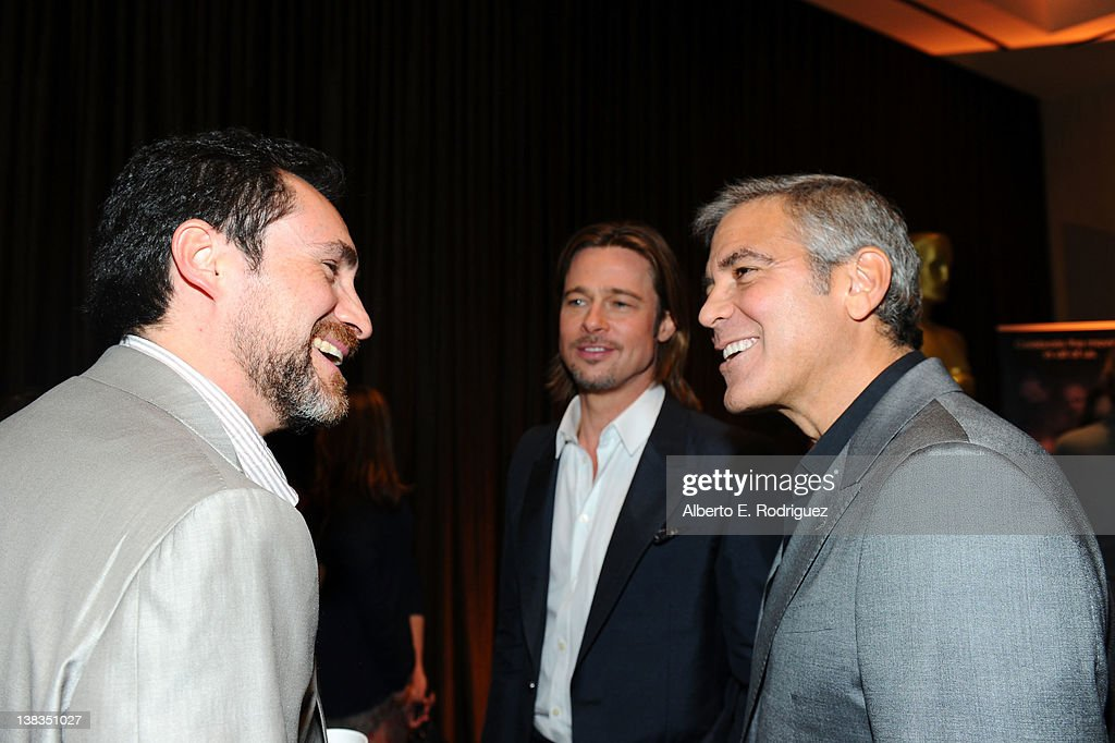 Actors Demian Bichir Brad Pitt and George Clooney attend the 84th Academy Awards Nominations Luncheon at The Beverly Hilton hotel on February 6 2012...