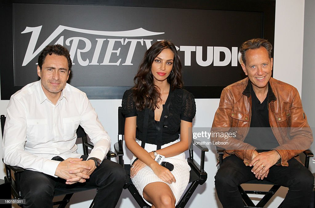 Actors <a gi-track='captionPersonalityLinkClicked' href=/galleries/search?phrase=Demian+Bichir&family=editorial&specificpeople=604427 ng-click='$event.stopPropagation()'>Demian Bichir</a>, Madalina Ghenea and <a gi-track='captionPersonalityLinkClicked' href=/galleries/search?phrase=Richard+E.+Grant&family=editorial&specificpeople=160448 ng-click='$event.stopPropagation()'>Richard E. Grant</a> speak at Variety Studio presented by Moroccanoil at Holt Renfrew during the 2013 Toronto International Film Festival on September 9, 2013 in Toronto, Canada.