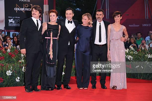 Actors Denis Fasolo Michela Cescon Thomas Trabacchi Claudia Pandolfi director Cristina Comencini and actor Filippo Timi attend the 'Quando la notte'...