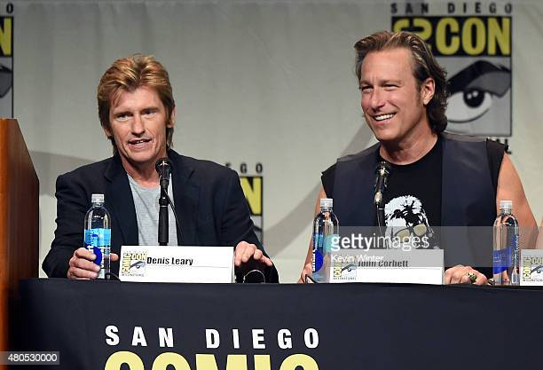 Actors Denis Leary and John Corbett speak onstage at the FX TV Block featuring 'SexDrugsRockRoll' 'The Strain' and a sneak peek of 'The Bastard...