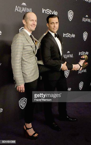 Actors Denis O'Hare and Cheyenne Jackson attend InStyle and Warner Bros 73rd Annual Golden Globe Awards PostParty at The Beverly Hilton Hotel on...