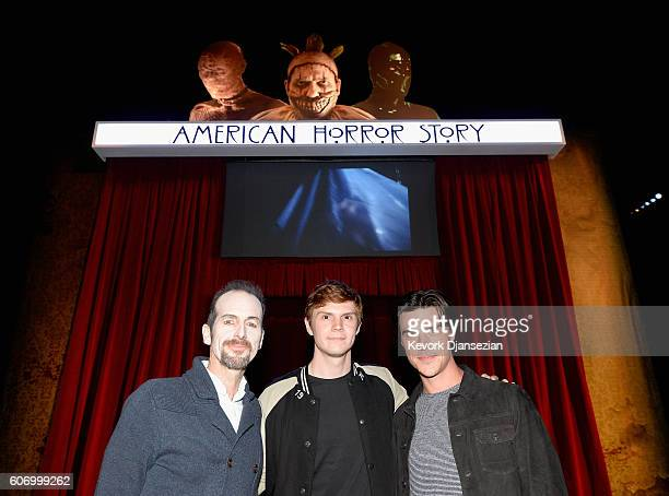 Actors Denis O'Hare Evan Peters and Finn Wittrock attend Universal Studios 'Halloween Horror Nights' opening night at Universal Studios Hollywood on...