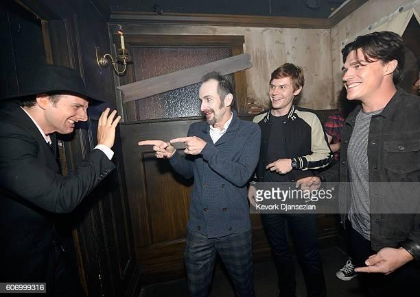 Actors Denis O'Hare Evan Peters and Finn Wittrock attend Universal Studios 'Halloween Horror Nights' opening night at Universal Studios Hollywood on...
