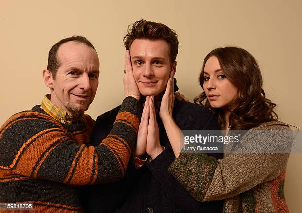 Actors Denis O'Hare Jonathan Groff and Troian Bellisario pose for a portrait during the 2013 Sundance Film Festival at the Getty Images Portrait...