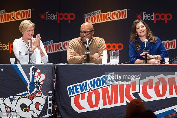 Actors Denise Crosby Michael Dorn and Marina Sirtis attend the Patrick Stewart Spotlight panel at 2014 New York Comic Con Day 3 at Jacob Javitz...