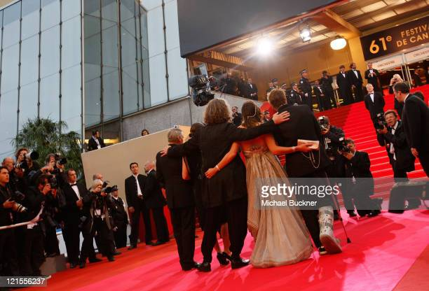 Actors Dennis Hopper Giovanna Mezzogiorno director Wim Wenders Milla Jovovich and Campino arrives at the 'Palermo Shooting' held at the Palais des...