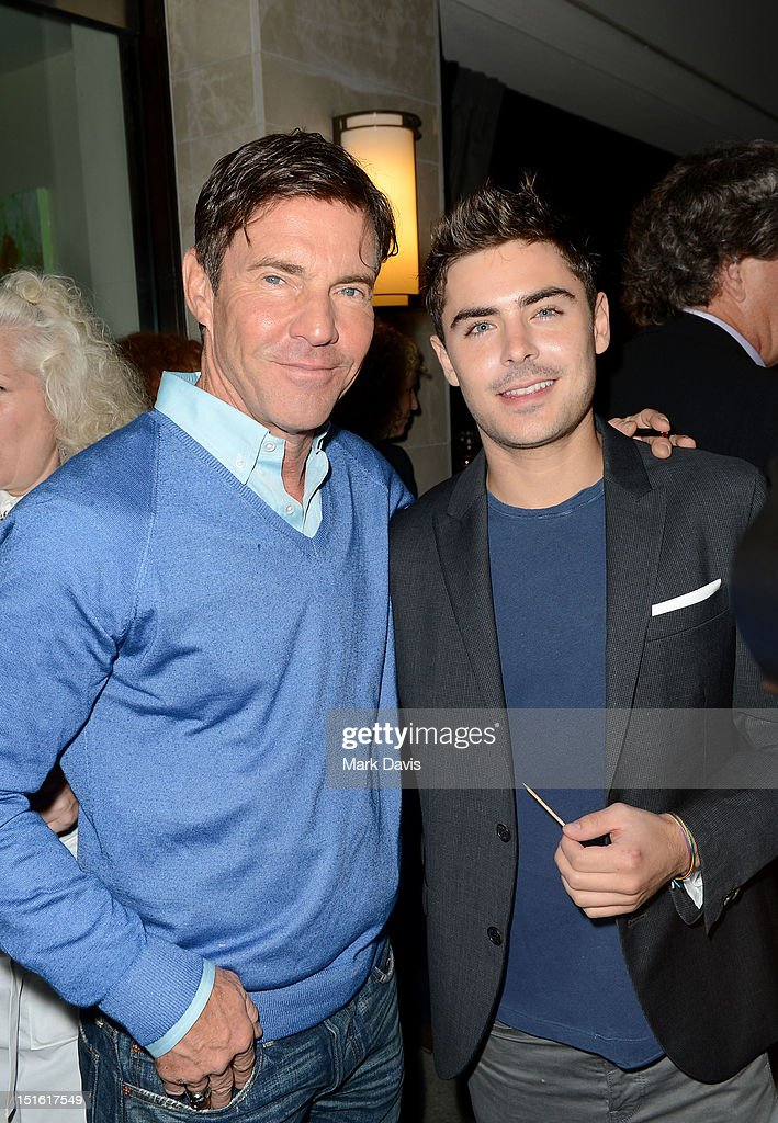 Actors <a gi-track='captionPersonalityLinkClicked' href=/galleries/search?phrase=Dennis+Quaid&family=editorial&specificpeople=201916 ng-click='$event.stopPropagation()'>Dennis Quaid</a> and <a gi-track='captionPersonalityLinkClicked' href=/galleries/search?phrase=Zac+Efron&family=editorial&specificpeople=533070 ng-click='$event.stopPropagation()'>Zac Efron</a> attend the Sony Pictures cocktail hour during the 2012 Toronto International Film Festival at the Creme Brasserie on September 8, 2012 in Toronto, Canada.