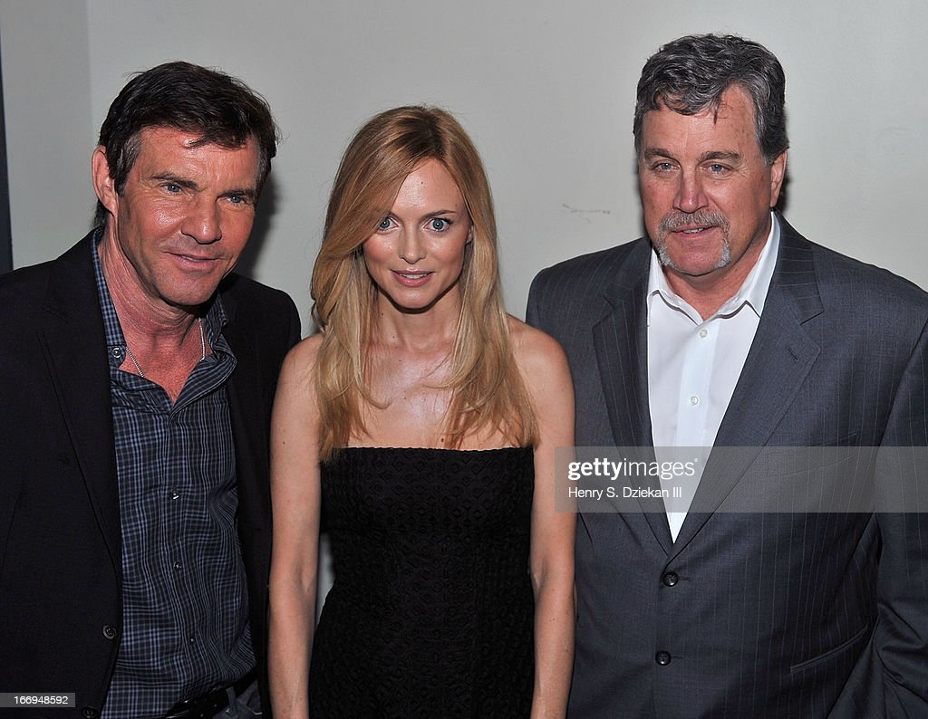 Actors <a gi-track='captionPersonalityLinkClicked' href=/galleries/search?phrase=Dennis+Quaid&family=editorial&specificpeople=201916 ng-click='$event.stopPropagation()'>Dennis Quaid</a>, <a gi-track='captionPersonalityLinkClicked' href=/galleries/search?phrase=Heather+Graham&family=editorial&specificpeople=204520 ng-click='$event.stopPropagation()'>Heather Graham</a> and <a gi-track='captionPersonalityLinkClicked' href=/galleries/search?phrase=Tom+Bernard&family=editorial&specificpeople=204620 ng-click='$event.stopPropagation()'>Tom Bernard</a> attend the Cinema Society & Bally screening of Sony Pictures Classics' 'At Any Price' at Landmark's Sunshine Cinema on April 18, 2013 in New York City.