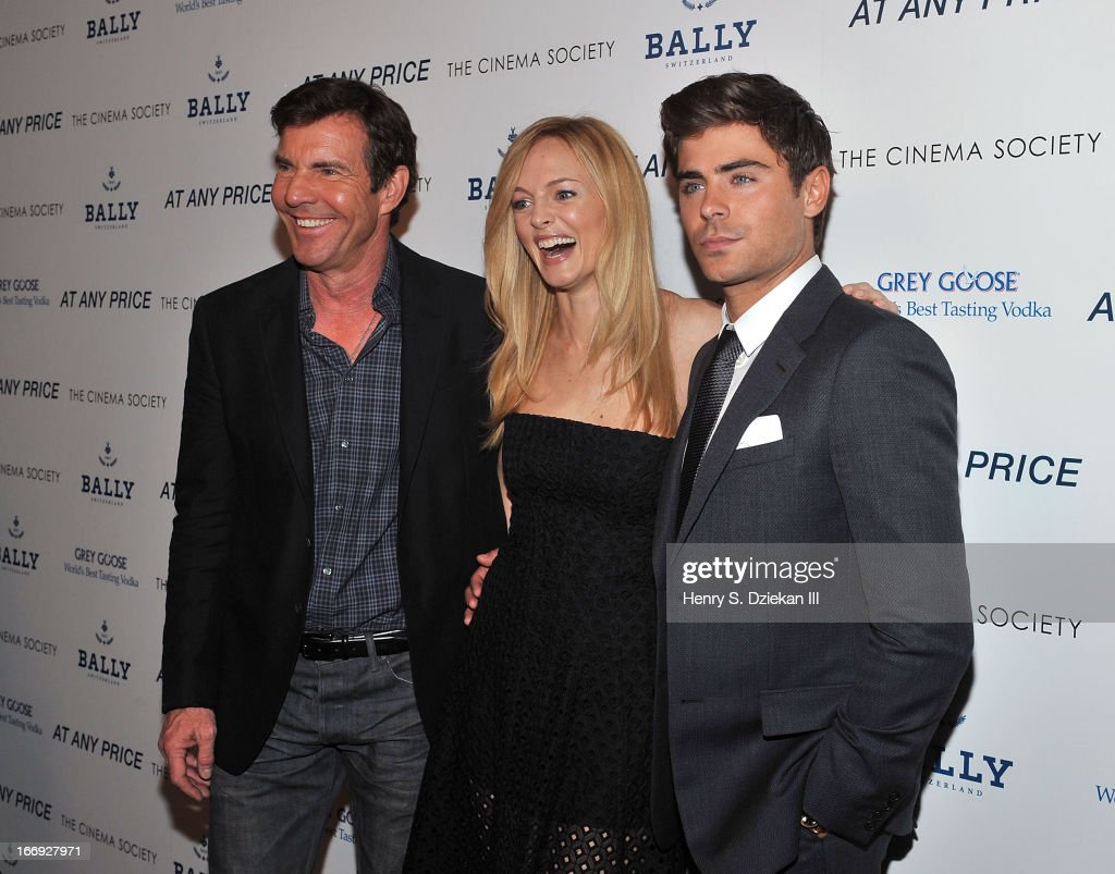 Actors <a gi-track='captionPersonalityLinkClicked' href=/galleries/search?phrase=Dennis+Quaid&family=editorial&specificpeople=201916 ng-click='$event.stopPropagation()'>Dennis Quaid</a>, <a gi-track='captionPersonalityLinkClicked' href=/galleries/search?phrase=Heather+Graham&family=editorial&specificpeople=204520 ng-click='$event.stopPropagation()'>Heather Graham</a> and <a gi-track='captionPersonalityLinkClicked' href=/galleries/search?phrase=Zac+Efron&family=editorial&specificpeople=533070 ng-click='$event.stopPropagation()'>Zac Efron</a> attend the Cinema Society & Bally screening of Sony Pictures Classics' 'At Any Price' at Landmark's Sunshine Cinema on April 18, 2013 in New York City.
