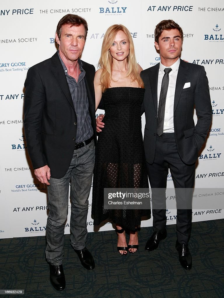Actors <a gi-track='captionPersonalityLinkClicked' href=/galleries/search?phrase=Dennis+Quaid&family=editorial&specificpeople=201916 ng-click='$event.stopPropagation()'>Dennis Quaid</a>, <a gi-track='captionPersonalityLinkClicked' href=/galleries/search?phrase=Heather+Graham+-+Actress&family=editorial&specificpeople=204520 ng-click='$event.stopPropagation()'>Heather Graham</a> and <a gi-track='captionPersonalityLinkClicked' href=/galleries/search?phrase=Zac+Efron&family=editorial&specificpeople=533070 ng-click='$event.stopPropagation()'>Zac Efron</a> attend The Cinema Society & Bally screening of Sony Pictures Classics' 'At Any Price' at Landmark Sunshine Cinema on April 18, 2013 in New York City.
