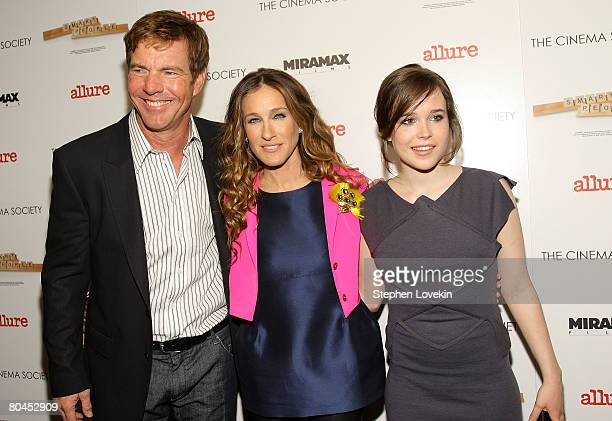Actors Dennis Quaid Sarah Jessica Parker and Ellen Page attend 'Smart People' screening hosted by the Cinema Society Linda Wells at the Landmark...