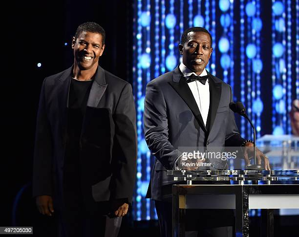 Actors Denzel Washington and Wesley Snipes speak onstage during the Academy of Motion Picture Arts and Sciences' 7th annual Governors Awards at The...