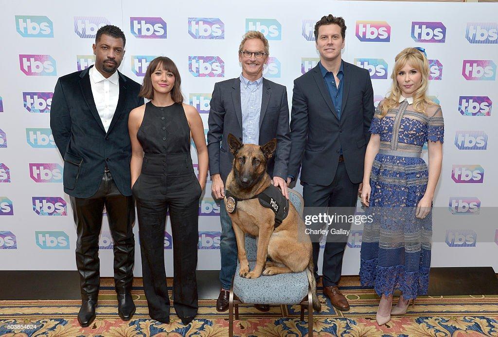 Actors Deon Cole Rashida Jones Jere Burns Hayes MacArthur and Andree Vermeulen of 'Angie Tribeca' attend the 2016 TCA Turner Winter Press Tour...