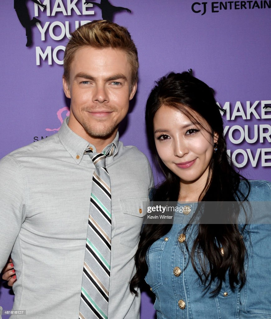 Actors <a gi-track='captionPersonalityLinkClicked' href=/galleries/search?phrase=Derek+Hough&family=editorial&specificpeople=4532214 ng-click='$event.stopPropagation()'>Derek Hough</a> (L) and BoA arrive at a screening of 'Make Your Move' at The Pacific Theatre at The Grove on March 31, 2014 in Los Angeles, California.