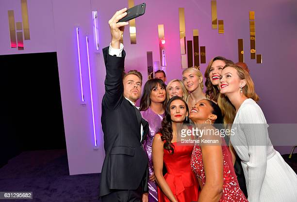 Actors Derek Hough Lea Micheleguest Julianne Hough guest Leighton Meester and Renee Elise Goldsberry attend The 2017 InStyle and Warner Bros 73rd...