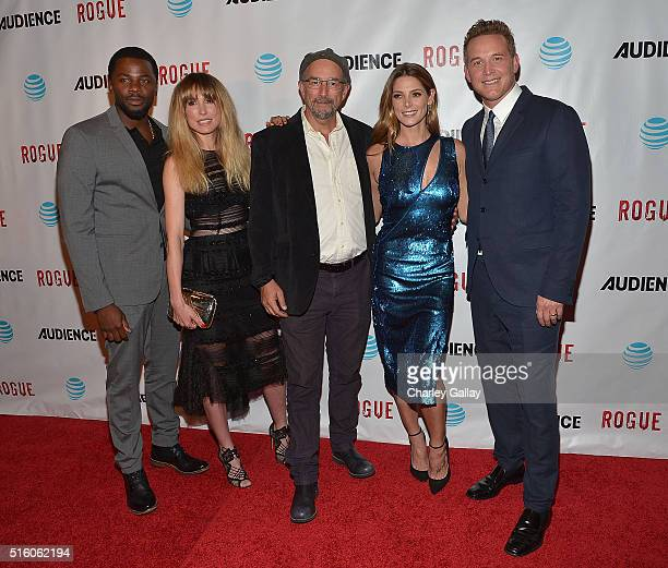 Actors Derek Luke Sarah Carter Richard Schiff Ashley Greene and Cole Hauser attend the party celebrating The ATT's 'ROGUE' at the London Hotel on...