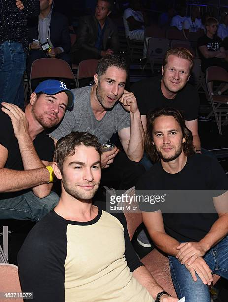 Actors Derek Phillips Chace Crawford and Taylor Kitsch with friends attend the inaugural event for BKB Big Knockout Boxing at the Mandalay Bay Events...