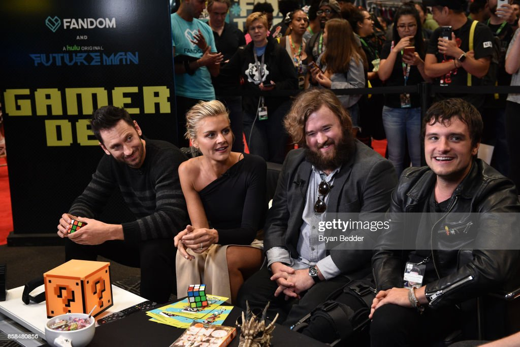 Actors Derek Wilson, Eliza Coupe, Haley Joel Osment and Josh Hutcherson speak at the FANDOM Fest during New York Comic Con on October 6, 2017 in New York City.