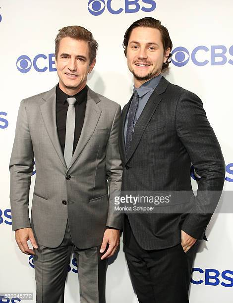 Actors Dermot Mulroney and Augustus Prew of CBS television series 'Pure Genius' attend the 2016 CBS Upfront at Oak Room on May 18 2016 in New York...