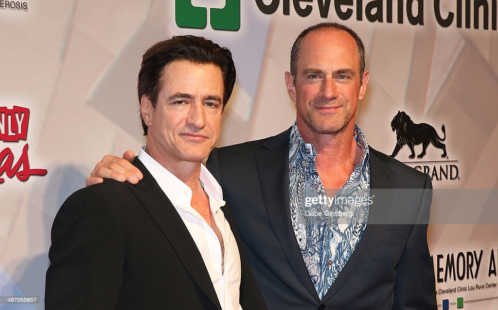Actors <a gi-track='captionPersonalityLinkClicked' href=/galleries/search?phrase=Dermot+Mulroney&family=editorial&specificpeople=208776 ng-click='$event.stopPropagation()'>Dermot Mulroney</a> (L) and <a gi-track='captionPersonalityLinkClicked' href=/galleries/search?phrase=Christopher+Meloni&family=editorial&specificpeople=220830 ng-click='$event.stopPropagation()'>Christopher Meloni</a> attend the 18th annual Keep Memory Alive 'Power of Love Gala' benefit for the Cleveland Clinic Lou Ruvo Center for Brain Health honoring Gloria Estefan and Emilio Estefan Jr. at the MGM Grand Garden Arena on April 26, 2014 in Las Vegas, Nevada.