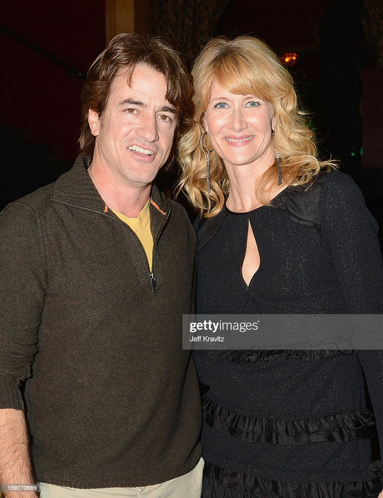 Actors <a gi-track='captionPersonalityLinkClicked' href=/galleries/search?phrase=Dermot+Mulroney&family=editorial&specificpeople=208776 ng-click='$event.stopPropagation()'>Dermot Mulroney</a> and <a gi-track='captionPersonalityLinkClicked' href=/galleries/search?phrase=Laura+Dern&family=editorial&specificpeople=204203 ng-click='$event.stopPropagation()'>Laura Dern</a> attend the 'Enlightened' Season 2 Premiere presented by HBO at Avalon on January 10, 2013 in Hollywood, California.