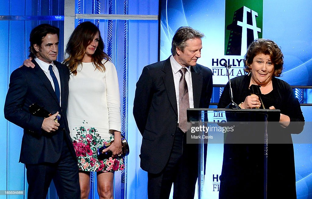 Actors <a gi-track='captionPersonalityLinkClicked' href=/galleries/search?phrase=Dermot+Mulroney&family=editorial&specificpeople=208776 ng-click='$event.stopPropagation()'>Dermot Mulroney</a>, <a gi-track='captionPersonalityLinkClicked' href=/galleries/search?phrase=Julia+Roberts&family=editorial&specificpeople=202605 ng-click='$event.stopPropagation()'>Julia Roberts</a>, Chris Cooper and <a gi-track='captionPersonalityLinkClicked' href=/galleries/search?phrase=Margo+Martindale&family=editorial&specificpeople=2649306 ng-click='$event.stopPropagation()'>Margo Martindale</a> accept the Hollywood Ensemble Cast Award for 'August: Osage County' onstage during the 17th annual Hollywood Film Awards at The Beverly Hilton Hotel on October 21, 2013 in Beverly Hills, California.