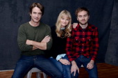 Actors Dermot Mulroney Lindsay Pulsipher and filmmaker Calvin Reeder pose for a portrait during the 2013 Sundance Film Festival at the WireImage...