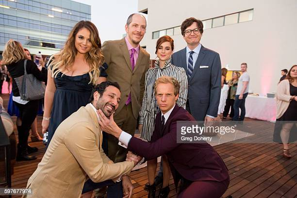 Actors Desmin Borges Kether Donohue Producer Stephen Falk Actress Aya Cash and Actors allan Mcleod and Chris Geere pose for a picture at the after...