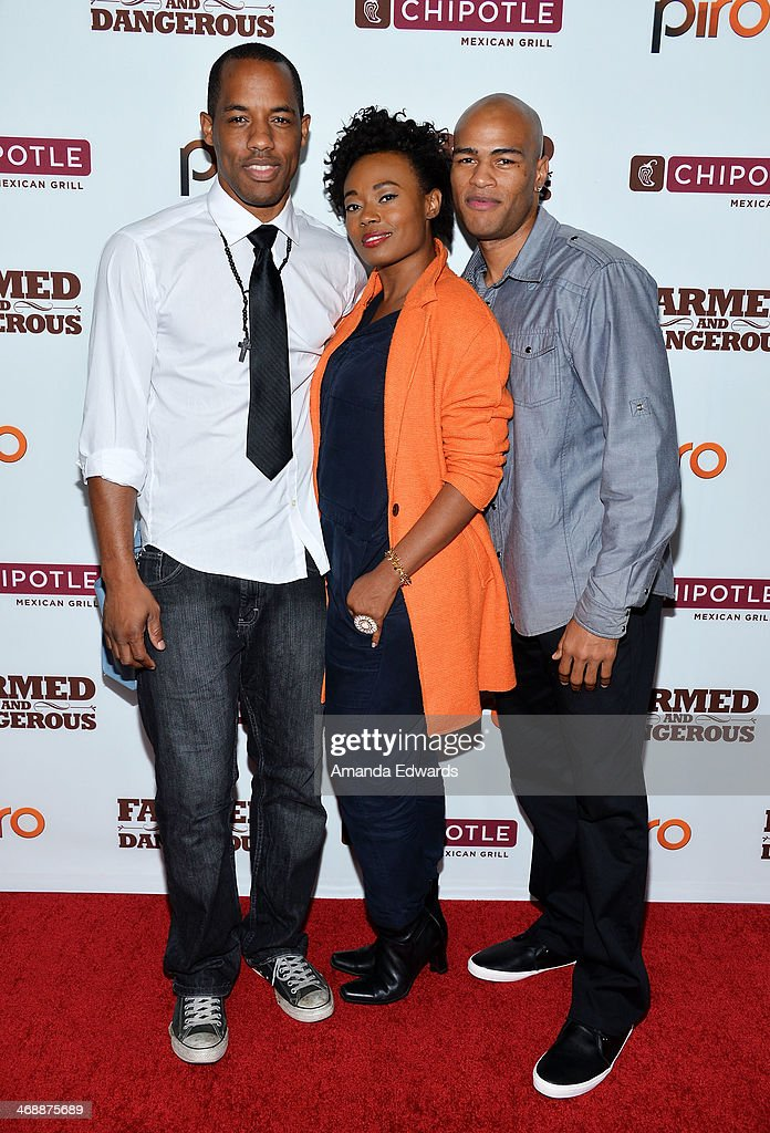 Actors Desmond Faison, Numa Perrier and Austen Jaye arrive at the Chipotle World Premiere of web series 'Farmed And Dangerous' at the DGA Theater on February 11, 2014 in Los Angeles, California.