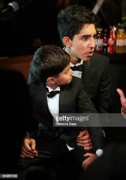 Actors Dev Patel and Ayush Mahesh Khedekar attend the Official 'Slumdog Millionaire' and 'The Wrestler' post Oscar party at ONE Sunset on February 22...