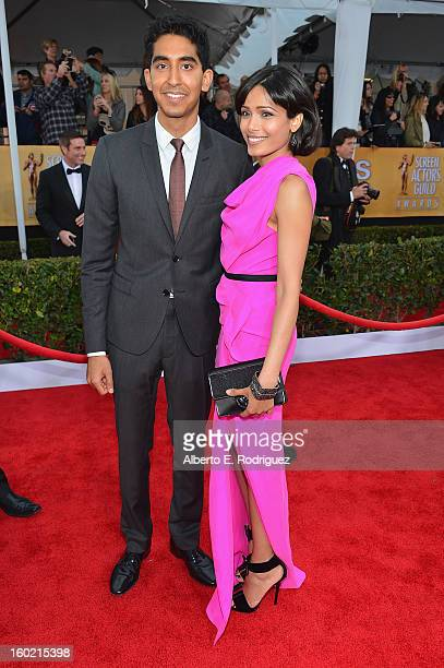 Actors Dev Patel and Freida Pinto arrive at the 19th Annual Screen Actors Guild Awards held at The Shrine Auditorium on January 27 2013 in Los...