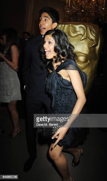 Actors Dev Patel and Freida Pinto attend The Orange British Academy Film Awards Nominees Party hosted by Asprey on February 7 2009 in London England