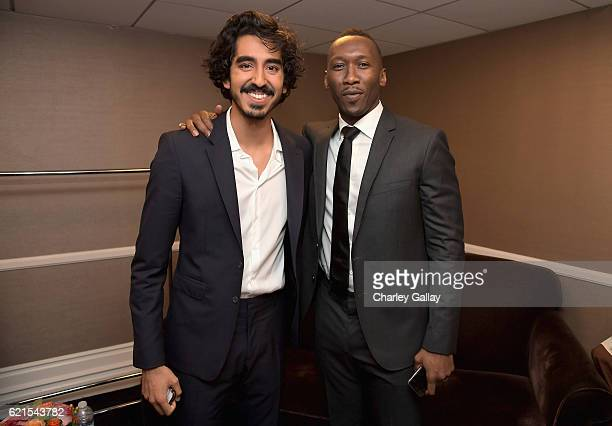 Actors Dev Patel and Mahershala Ali pose in the green room during the Hollywood Film Awards on November 6 2016 in West Hollywood California