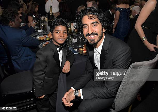 Actors Dev Patel and Sunny Pawar at the 22nd Annual Critics' Choice Awards presented by FIJI Water at Barker Hangar on December 11 2016 in Santa...