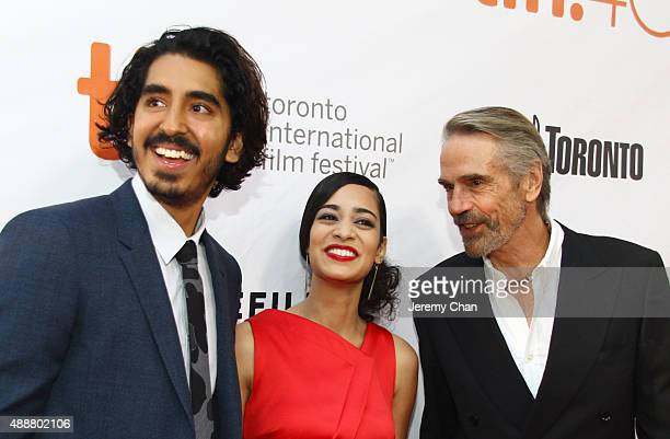 Actors Dev Patel Devika Bhise and Jeremy Irons attend 'The Man Who Knew Infinity' premiere during the 2015 Toronto International Film Festival at Roy...
