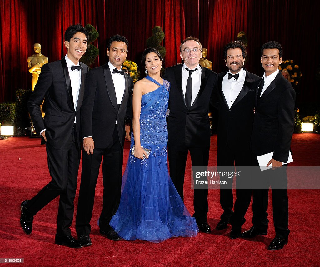 Actors Dev Patel, Irrfan Khan and Freida Pinto, director Danny Boyle actors Anil Kapoor and Madhur Mittal arrive at the 81st Annual Academy Awards held at Kodak Theatre on February 22, 2009 in Los Angeles, California.